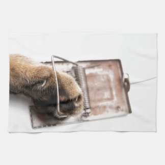 Paw in mousetrap hand towel