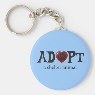 Paw in Red Heart Shelter Animal Keychain