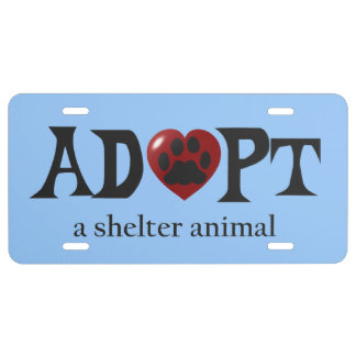Paw in Red Heart Shelter Animal License Plate