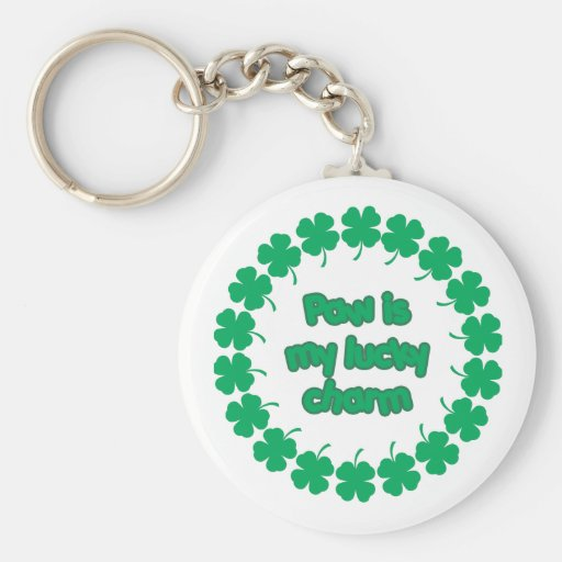 Paw is My Lucky Charm Basic Round Button Keychain