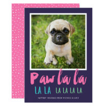 Paw La La Pet Photo Holiday Card | Purple Pink
