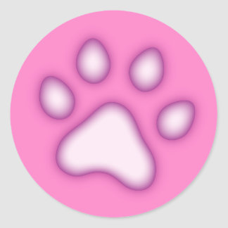 Paw or pawprint stickers, pink and purple