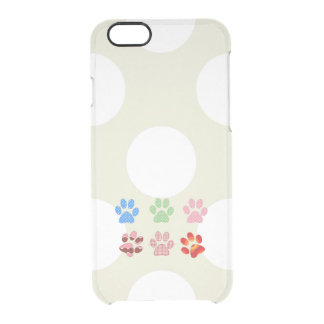 Paw Pattern, Dog Paws, Puppy Paws - Red Blue Green Clear iPhone 6/6S Case