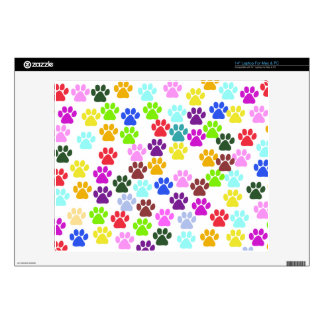 """Paw Pattern, Dog Paws, Puppy Paws - Red Blue Green Decal For 14"""" Laptop"""
