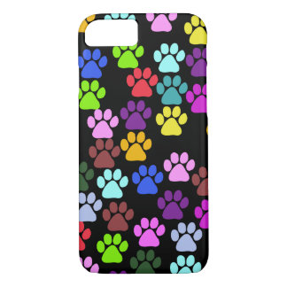 Paw Pattern, Dog Paws, Puppy Paws - Red Blue Green iPhone 7 Case