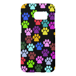 Paw Pattern, Dog Paws, Puppy Paws - Red Blue Green Samsung Galaxy S7 Case