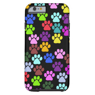 Paw Pattern, Dog Paws, Puppy Paws - Red Blue Green Tough iPhone 6 Case