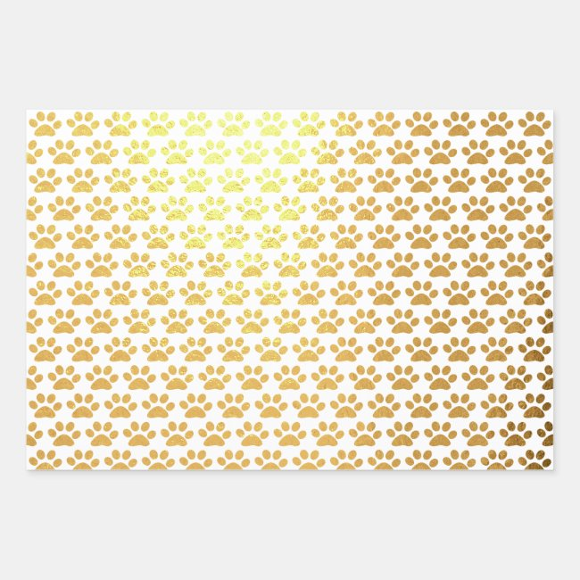 Paw Print Abstract Pattern Foil Wrapping Paper