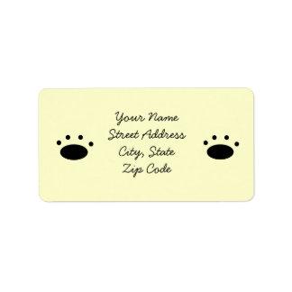 Paw Print Address Label Light Yellow