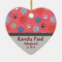 Paw Print Adoption Announcement Ornament