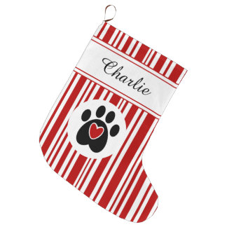 Paw Print and Candy Cane Stripes Large Christmas Stocking