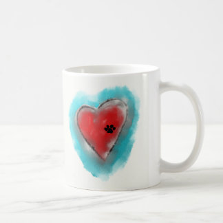 Paw Print and Heart Mug by Andy Mathis