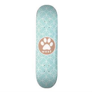 Paw Print Baby Blue Circles Skateboard Deck