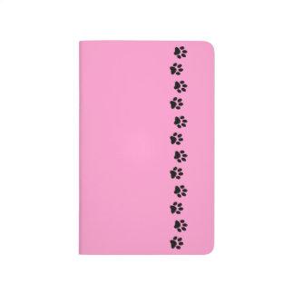 Paw print black and pink pet lover pocket journal