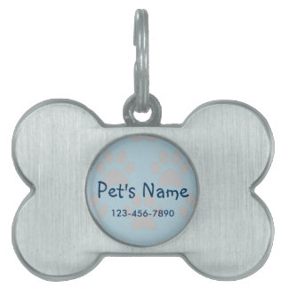 Paw Print Blue and Gray Personalized Pet Pet Name Tag