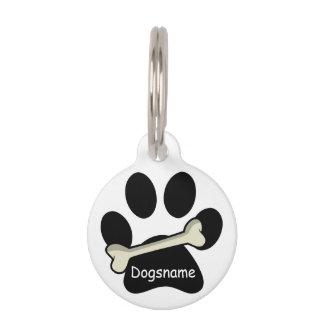 Paw Print Bone Dog ID Name Phone Number on White Pet ID Tag