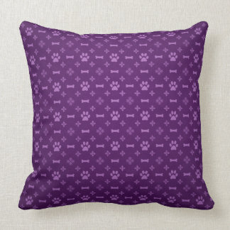 Paw Print & Bone Seamless Pattern Purple Throw Pillow