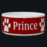 "Paw Print Bowl<br><div class=""desc"">Paw prints with your pets name and a pink background that can be changed</div>"