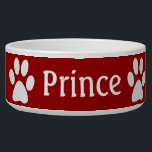 """Paw Print Bowl<br><div class=""""desc"""">Paw prints with your pets name and a pink background that can be changed</div>"""
