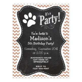 Paw Print; Brown Chevron Postcard