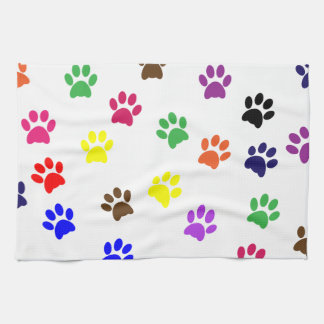 Paw print cat pet colorful fun pawprints, tracks hand towel