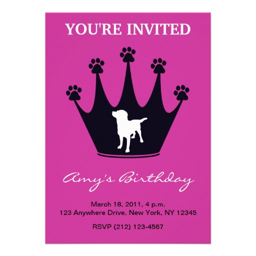 Paw Print Crown Personalized Invite