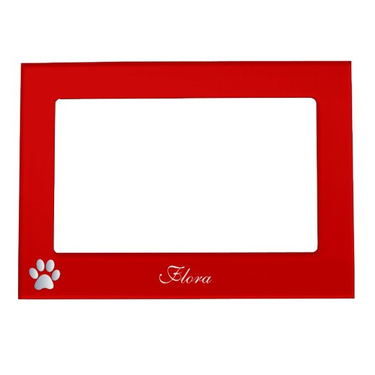 Paw print custom dogs name initial F red Magnetic Photo Frame