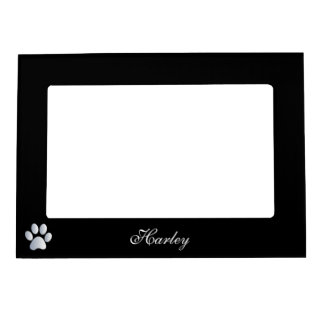 Paw print custom dogs name initial H black Magnetic Photo Frame