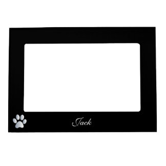 Paw print custom dogs name initial J black Magnetic Picture Frame