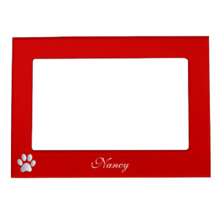 Paw print custom dogs name initial N red Magnetic Photo Frame