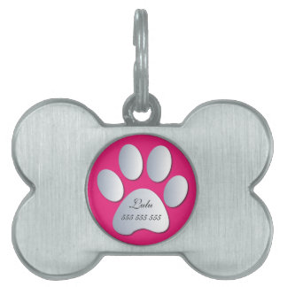 Paw Print custom name & phone no. pet dog id tag