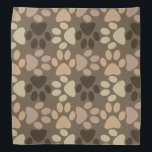 """Paw Print Design Bandana<br><div class=""""desc"""">A Paw Print Design in different shades of brown and beige. Done in vector and made into a pattern. You can resize to look bigger or smaller. Great for dogs,  cats,  and pet lovers.</div>"""