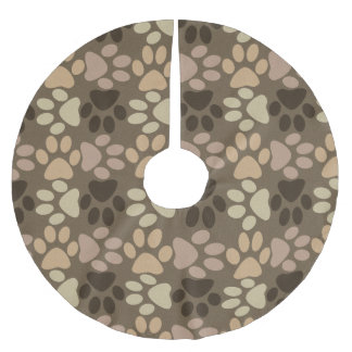 Paw Print Design Brushed Polyester Tree Skirt