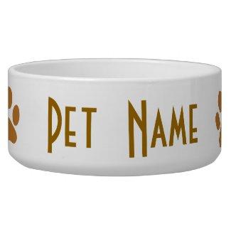 Paw Print Dog Bone Custom Pet Dish