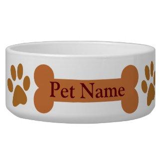 Paw Print Dog Bone Personalized Pet Dish