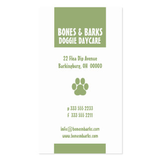 Paw Print Dog Care Olive Business Cards