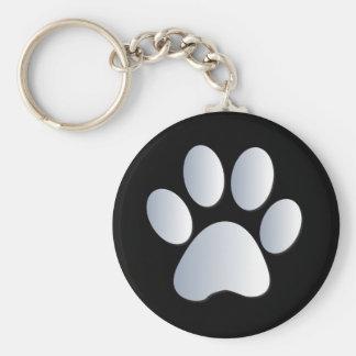 Paw print dog, cat pet silver & black keychain