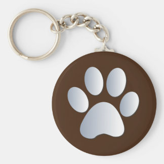 Paw print dog, cat pet silver & brown keychain