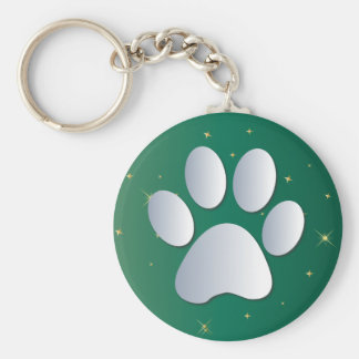 Paw print dog, cat pet silver & green keychain
