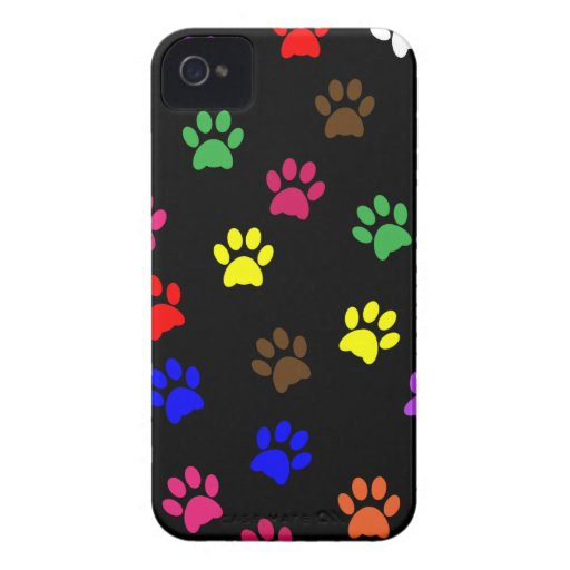 Paw print dog colorful iphone 4 case mate barely