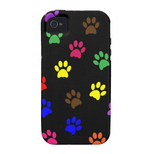 Paw print dog colorful  iphone 4 case mate tough