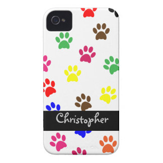 Paw print dog custom boys name blackberry cas bold Case-Mate iPhone 4 case