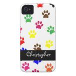 Paw print dog custom boys name iphone 4 case i/d