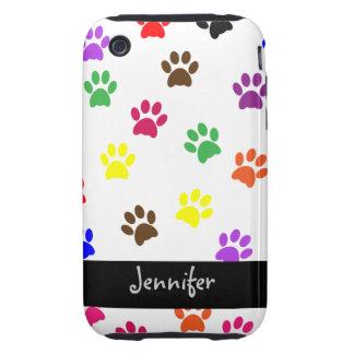 Paw print dog custom girls name iphone 3G tough Tough iPhone 3 Covers