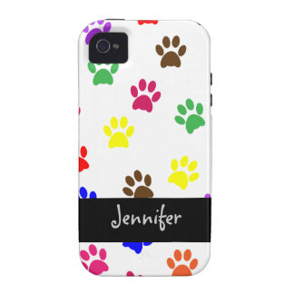 Paw print dog custom girls name iphone 4 cas tough iPhone 4/4S cover