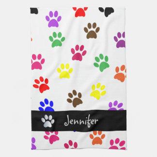Paw print dog custom girls name kitchen tea towel