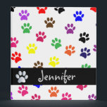 """Paw print dog custom girls name photo album binder<br><div class=""""desc"""">Colorful,  fun pet dog or cat paw prints custom girls name photo album,  folder,  binder.  Great for school work or as a photo album.  great gift idea for dog lovers</div>"""