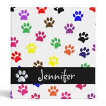 Paw print dog custom girls name photo album binder