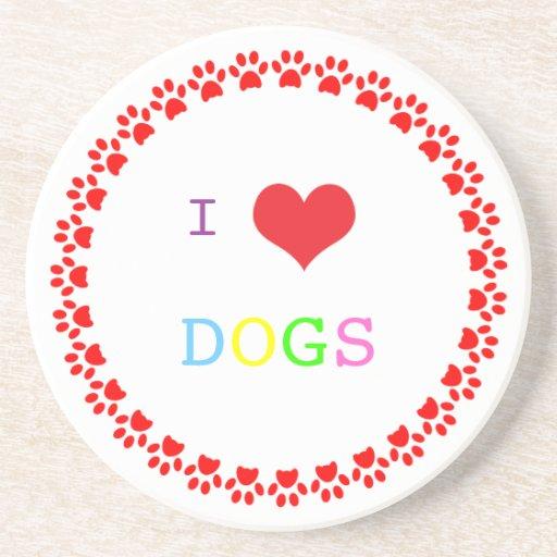 Paw print dog heart I love heart dogs coaster