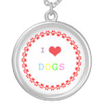 Paw print dog heart I love heart dogs necklace
